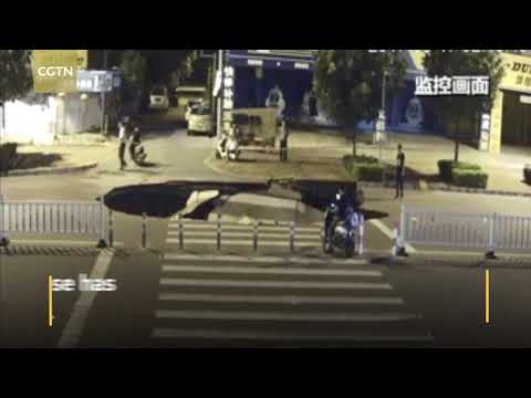 a sinkhole in beihai swallowed a motorcyclist