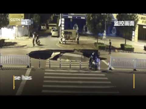 a sinkhole in beihai swallowed a motorcyclist