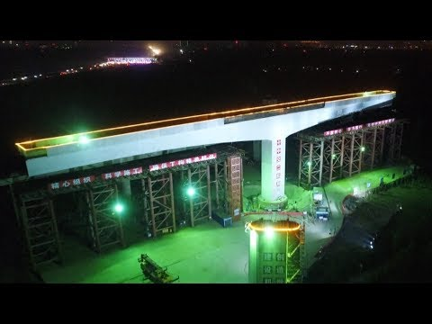 highspeed rail bridge swiveled into place
